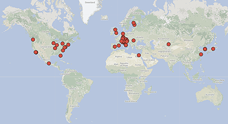 Locations of Surgeons participating in our Surgeon Survey.