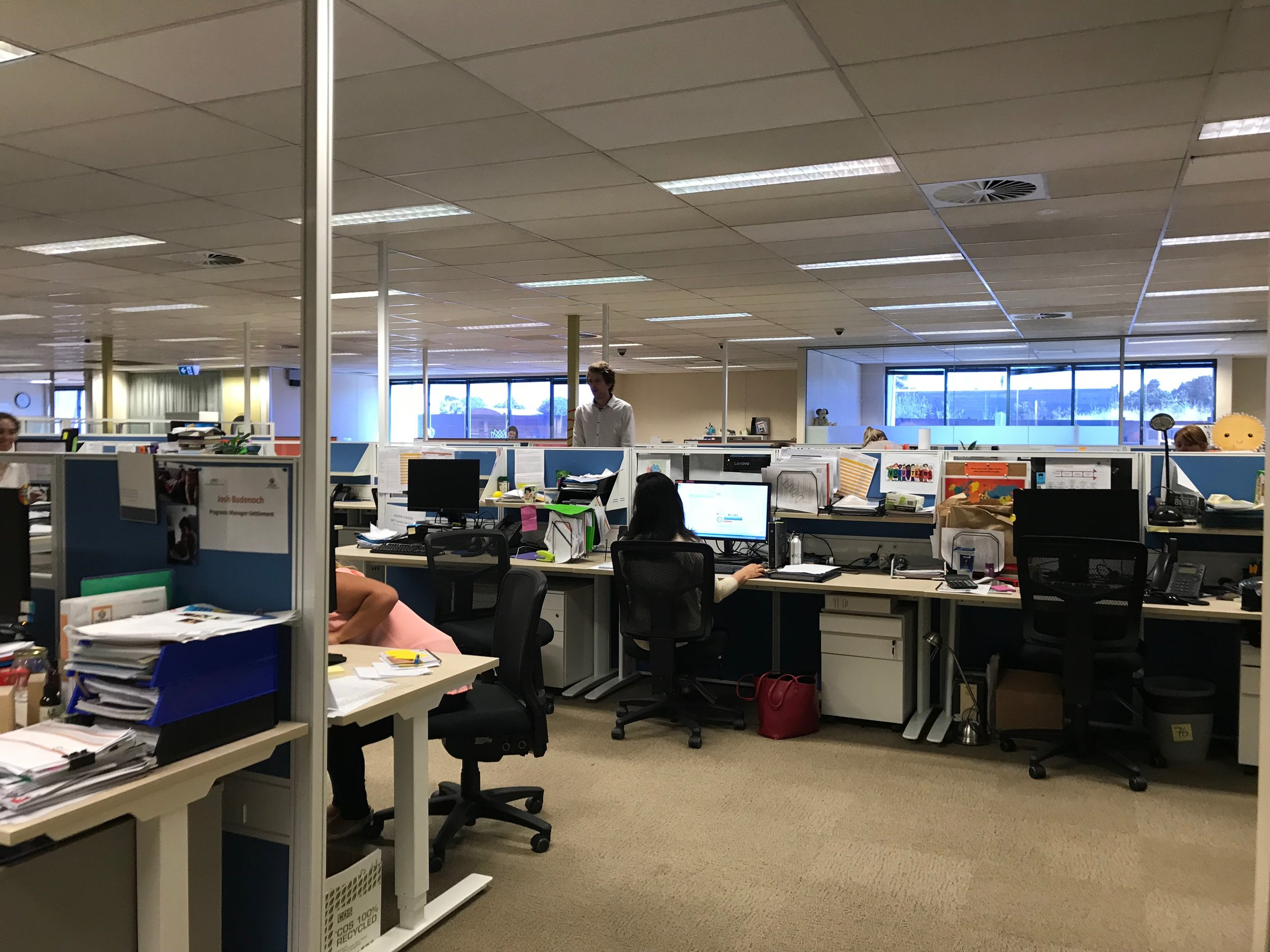 The office space is open plan, with no private offices for any staff member. Similar services are grouped together, as are services who hire just one or two desks.