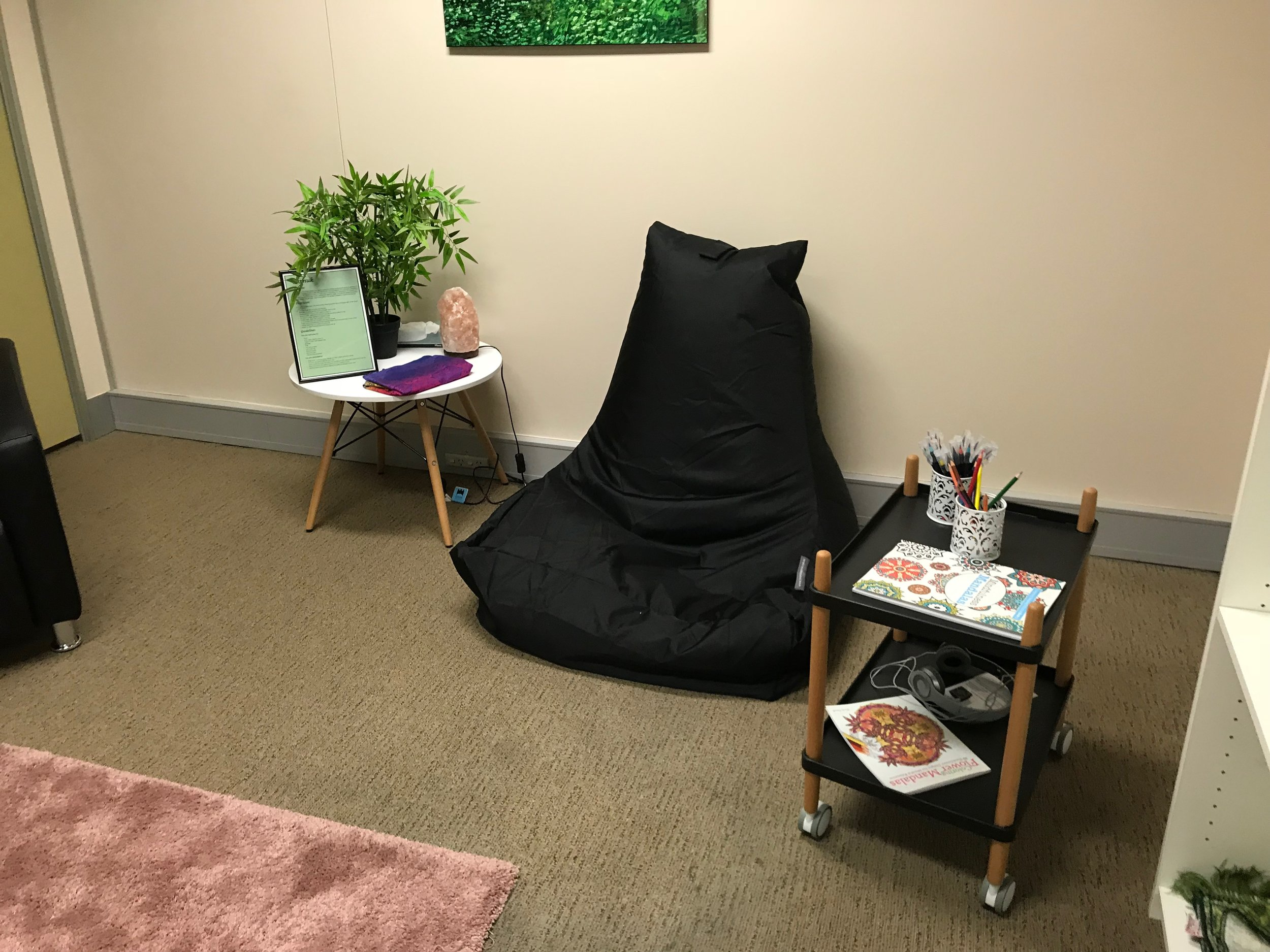 """""""Tarnuk"""" is a mindfulness/meditation/prayer room that supports staff working in difficult jobs. BSL runs guided meditations, one of the hubsters plays the harp once a fortnight, and there are also essential oils, guided meditations, books, colouring and so on for free use."""