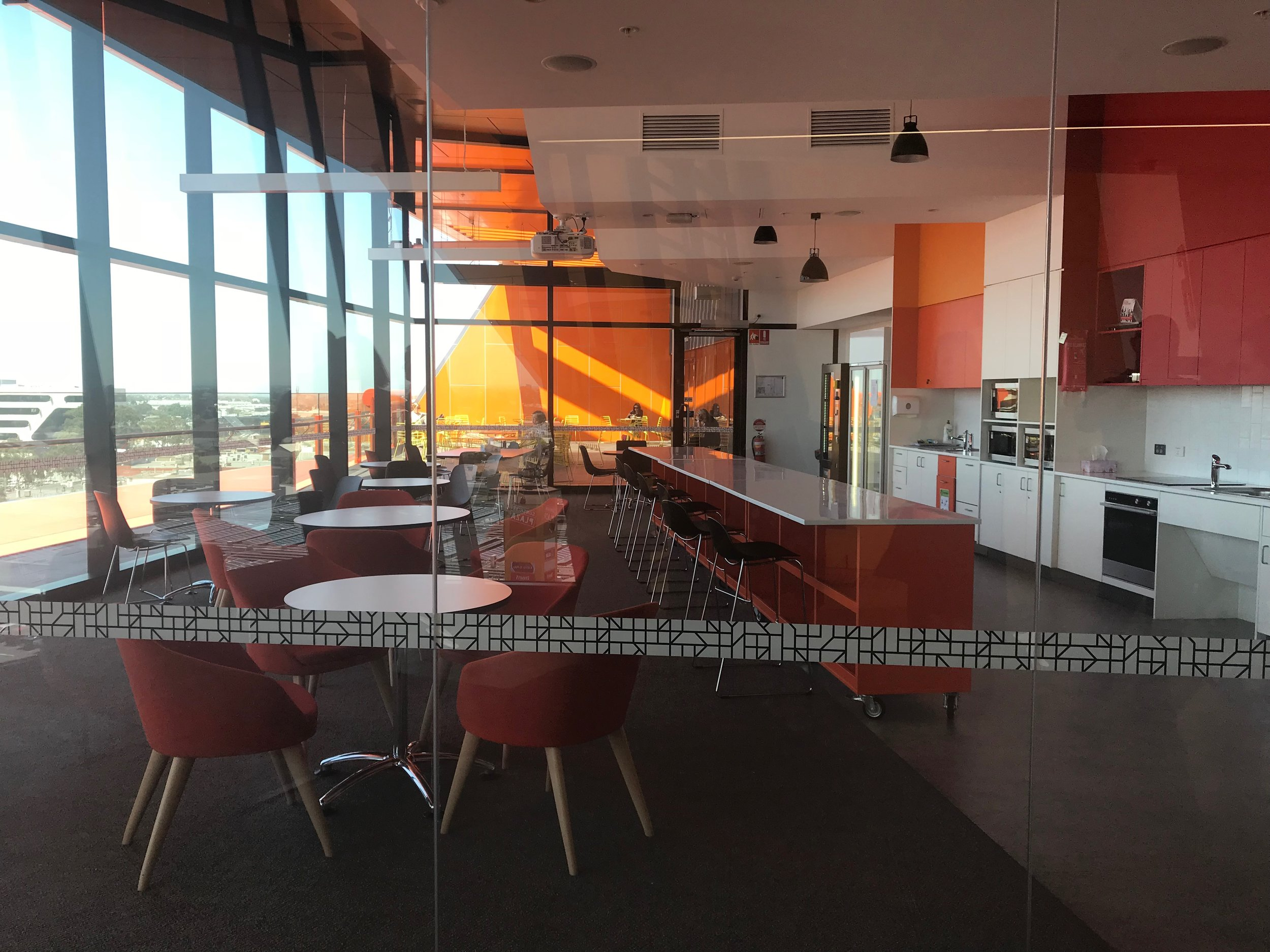 The staff kitchen, on level 4, has views towards the city and an outdoor area, encouraging staff from all parts of Council to meet eachother and spend time away from their desk for lunch.