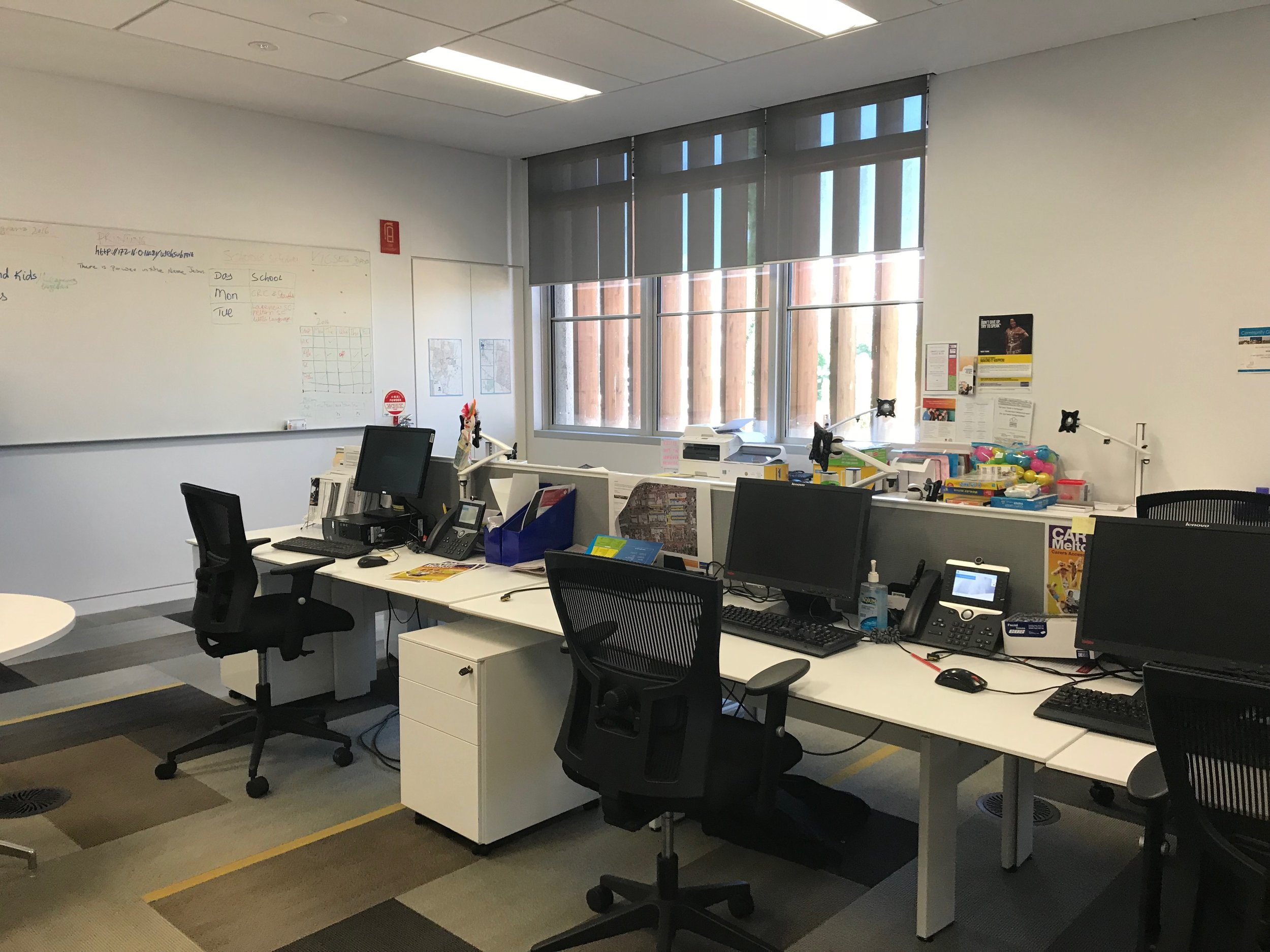 A small co-working space provides office space for local services including a legal service.