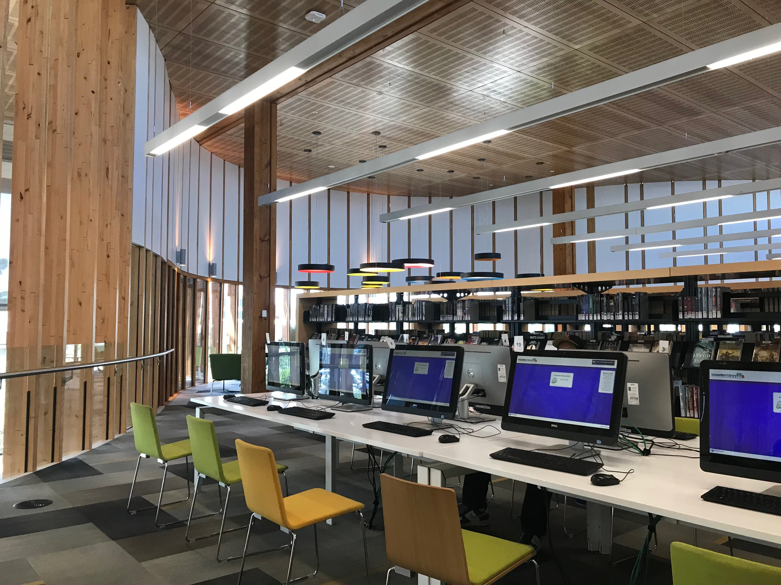 The library provides naturally lit study areas, computer areas, and quiet reading areas. There are green building features such as sensor lighting throughout.