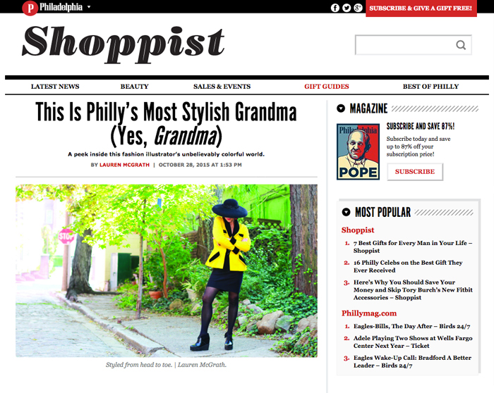 You've probably seen her around town – bespectacled Denise Fike, always dressed to impress and peeking out from underneath one of her brimmed hats. Who wears hats anywhere besides the Kentucky Derby? Denise Fike does. And you know what? She does it impeccably. She is Philly's coolest fashion illustrator who, if you're lucky, has drawn you at one swanky event or another. We got a peek inside her wonderfully kooky, colorful home, where nothing quite hangs straight and nobody gives a damn. Here, Denise dishes on her style philosophy, the toughest thing to draw, faking your way to the top, and what to do when you find yourself at a NYE party at a gay club wearing the same dress as the man next to you – and   he   looks better.      Read the full Article here.