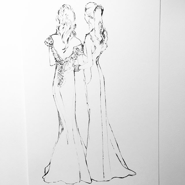 For beautiful Giovanna and her beautiful mother! #brides #bridestobe #fashionillustration #illustration