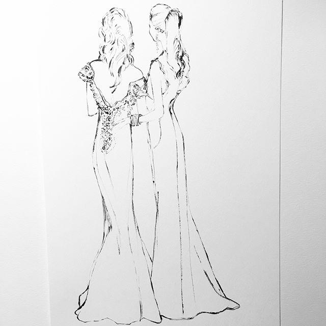 For beautiful Giovanna and her beautiful mother! #brides #bridestobe #fashionillustration #illustration