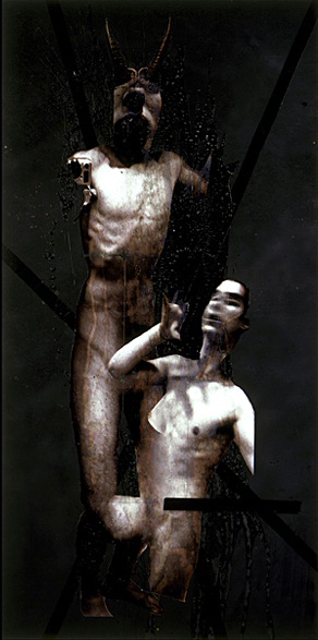 Devil- 96x48 in; inkjet on masonite with paint, resin, tape, blood; 2002 - Private Collection