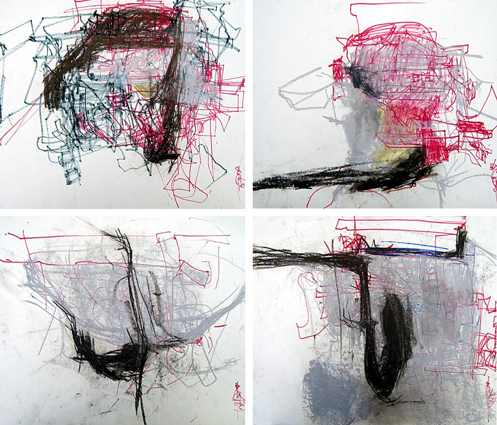Death Drawings 1-4- each 18x24 in; pastel, marker on stock; 2007
