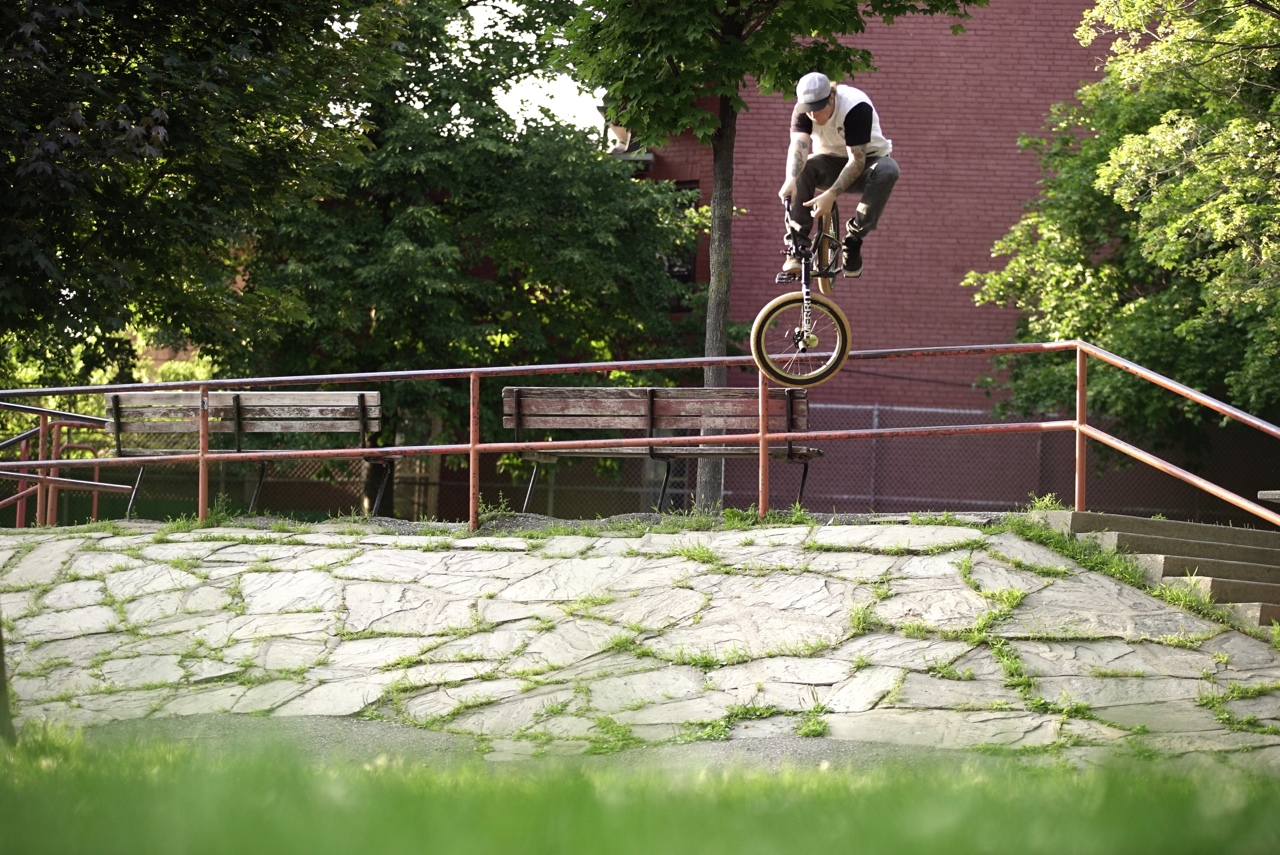 Just wrapped up shooting a  Merritt BMX  trip in Toronto for an exclusive on  The Navi Arm  YouTube. Awesome riding from Eli Taylor (pictured here) Charlie Crumlish, Greg Henry, Chijoke Okafoe, Joel Fortin and Brandon Begin. Look for to drop mid-August.