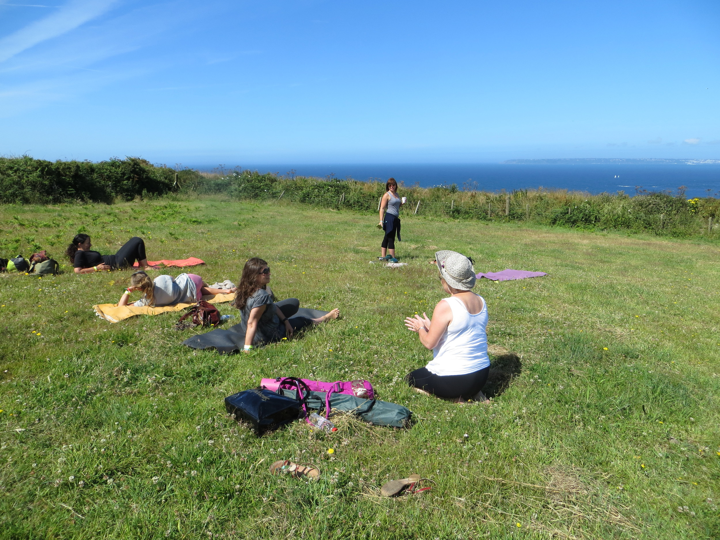 Setting up for the yoga class at the Sark Folk Festival