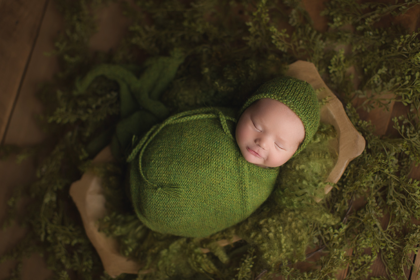 irvine-newborn-photography-studio-baby-photographer-green-natural-bonnet-leaves.jpg