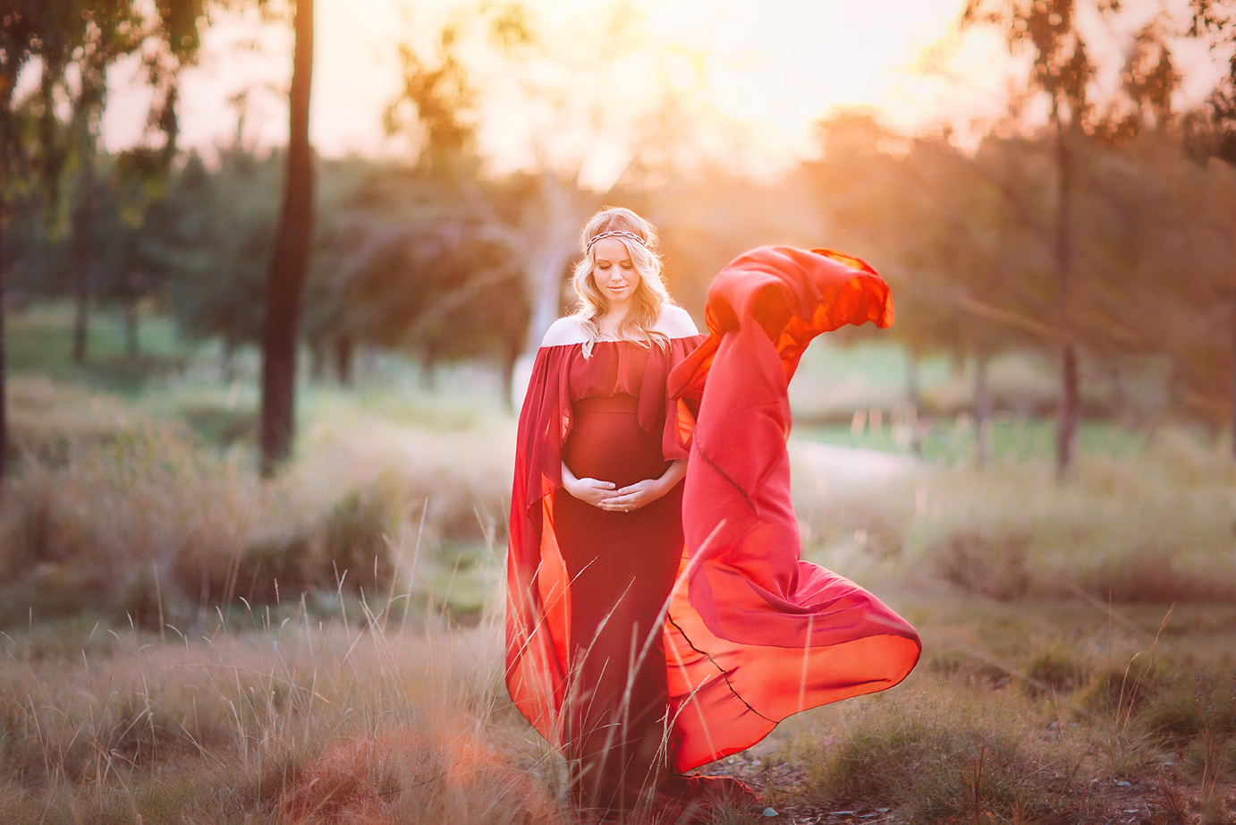 orange-county-maternity-photographer-irvine-woodbury-flowy-gown-red-cape-dramatic-beautiful-sunset-fine-art.jpg