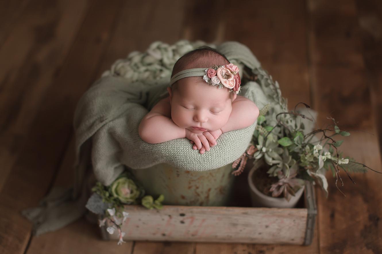orange-county-newborn-photographer-irvine-baby-girl-vintage-bucket-prop-sage-green-succulents-plants.jpg
