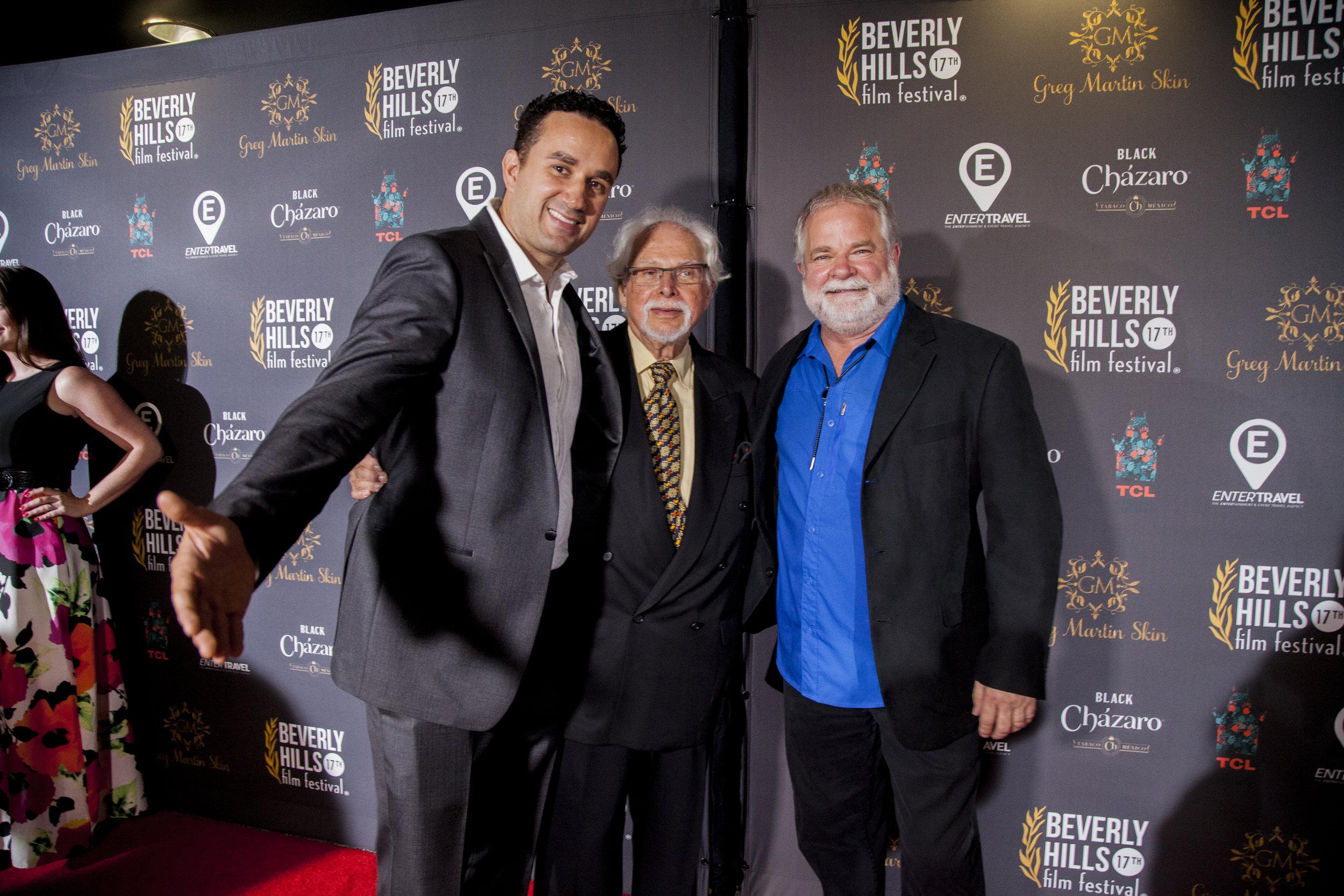 "From left: director Leonardo Corbucci, Legendary AD Burt Bluestein, Legendary AD Arthur Anderson. Chinese Theatre,  ""BEVERLY HILLS FILM FESTIVAL"""