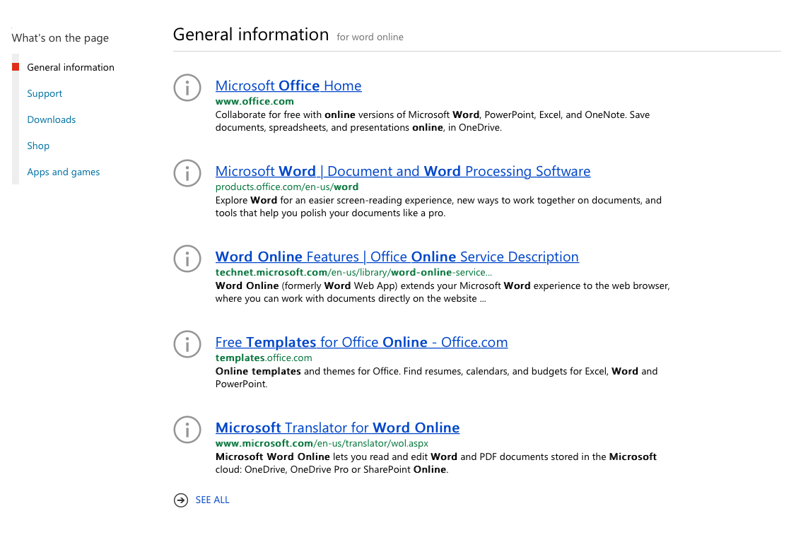 """""""word online"""" search results on microsoft.com"""