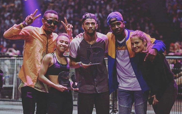 WINNERS Nadiah NfuZion (AUS) and Israel (BRA) with hosts Crazy Hype (M.O.B.) and Jiff Di Bossman and organizerof Just Dancehall category, Laure Courtellemont. Photo by @mamadouxx
