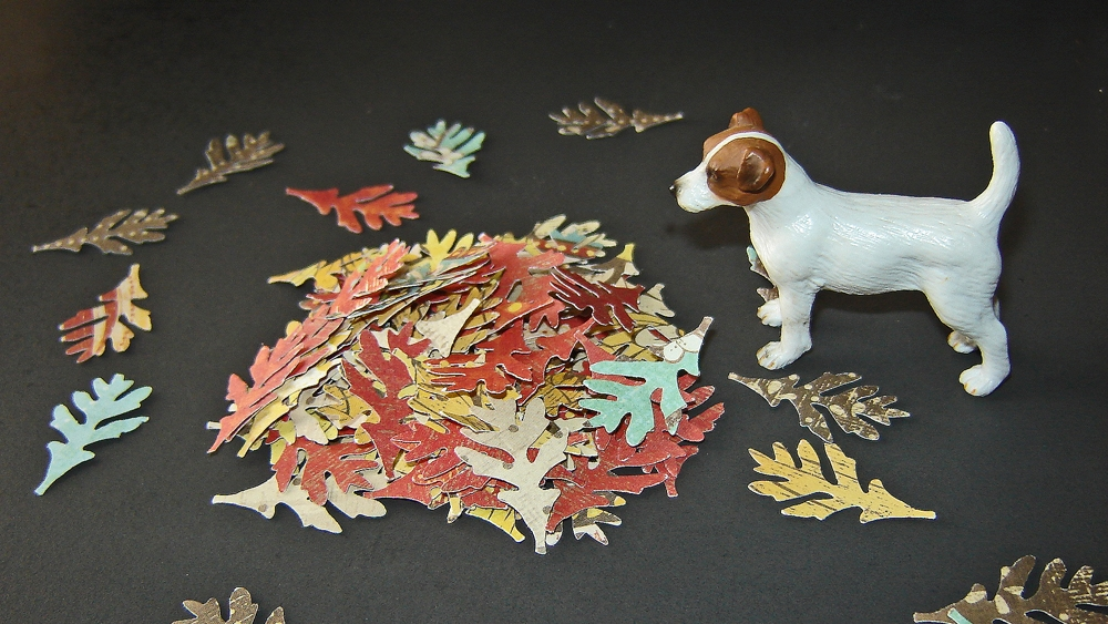 Autumn - oak leaves and Jack Russell by Mary Anne Enriquez