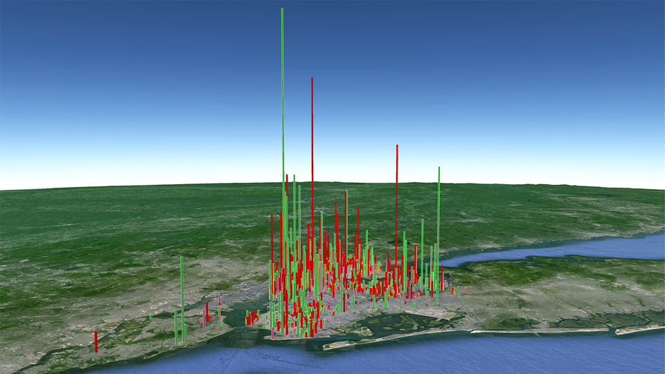 Volume of air saturated daily by all New York Clean Heat buildings (square-base towers)