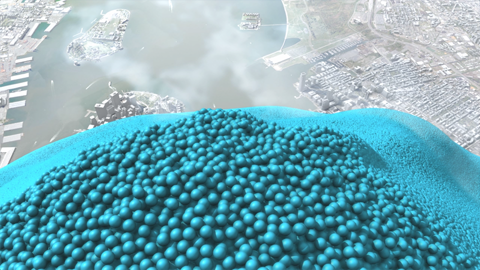 A year's carbon dioxide emissions from New York City: 54,349,650 one-metric-ton spheres