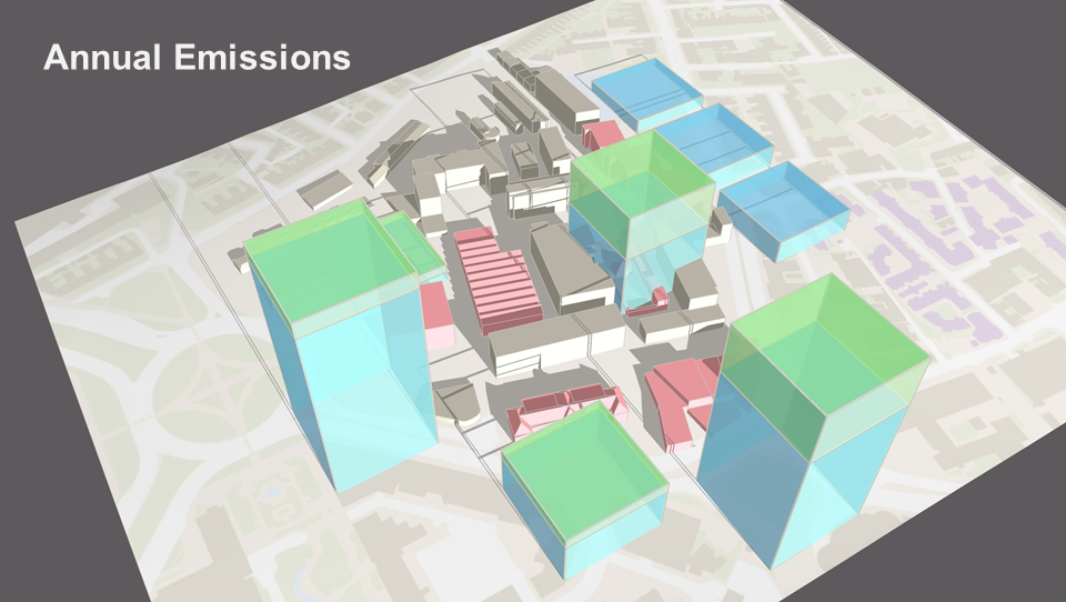 Annual emissions of different buildings at Plymouth University, CO 2 (e).