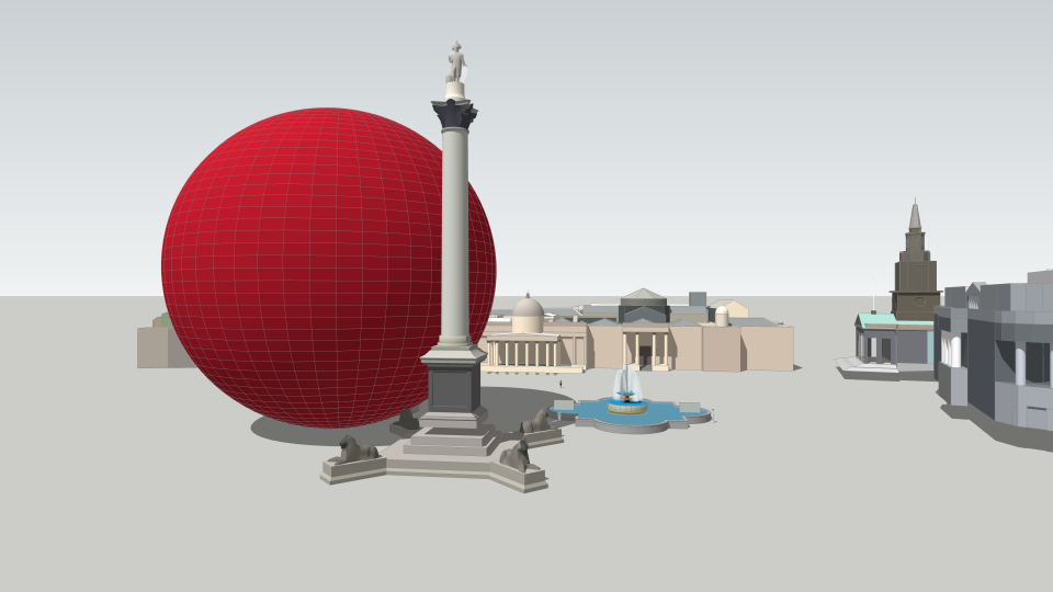 Perspective sketch (Carbon Visuals) of one hour sphere (48.84 metres diameter). Note - the gap in the base of the column ensures it is precisely the right height.