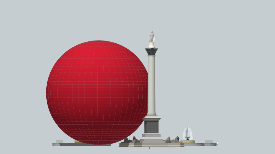 Parallel projection sketch (Carbon Visuals) of one hour sphere (48.84 metres diameter).