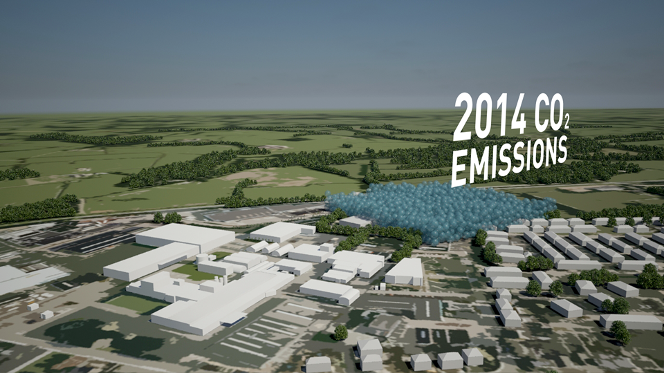 2014 (forecast) annual Scope 1&2 emissions: 90% reduction, Interface factory, Scherpenzeel, Netherlands