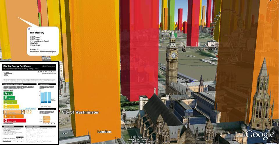 The 'carbon canyons' of the city of London. Each tower represents the annual carbon footprint (2009/10) of a public building.