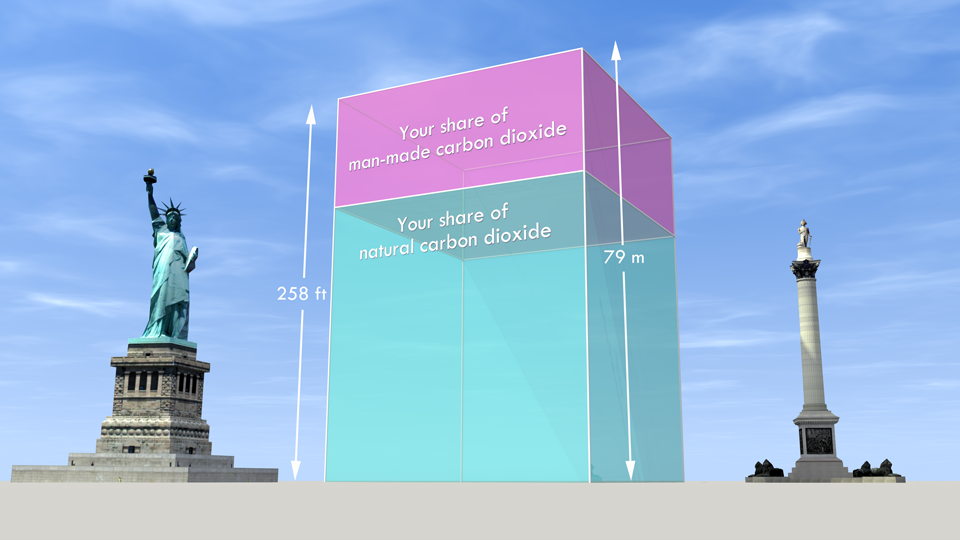 If all the carbon dioxide in the atmosphere were shared equally amongst every person on the planet (7 billion of us) this is how much we'd have each - 446 tonnes of it. See larger image on Flickr .