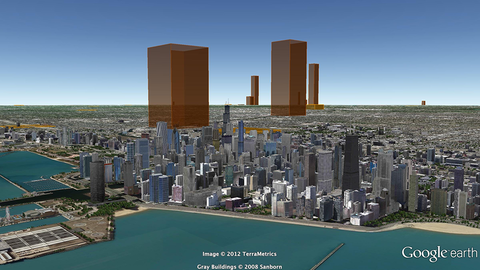 A view showing the actual annual volume of CO2 produced by power stations around Chicago.