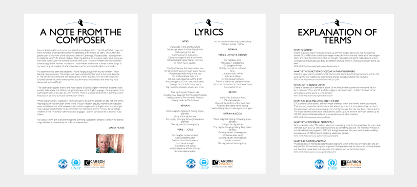 Pages from the education pack which accompanies 'The ozone Song'.