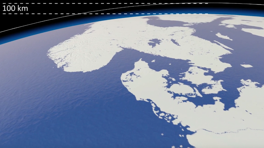 Image from 'Precious Ozone' film showing the edge of space.