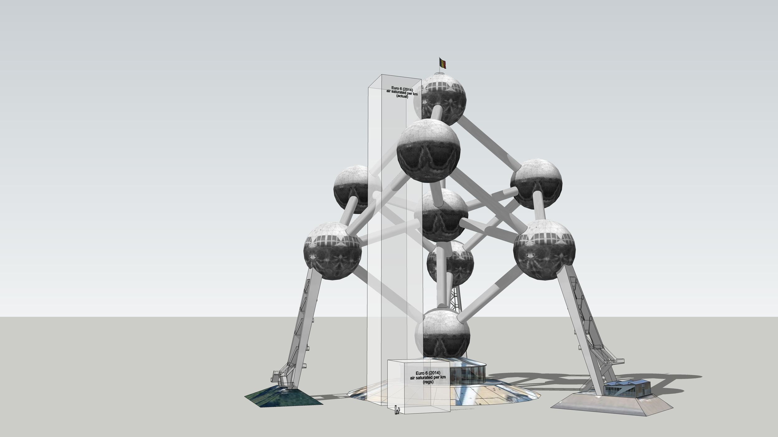 Saturation per km with a scaling object (Atomium)