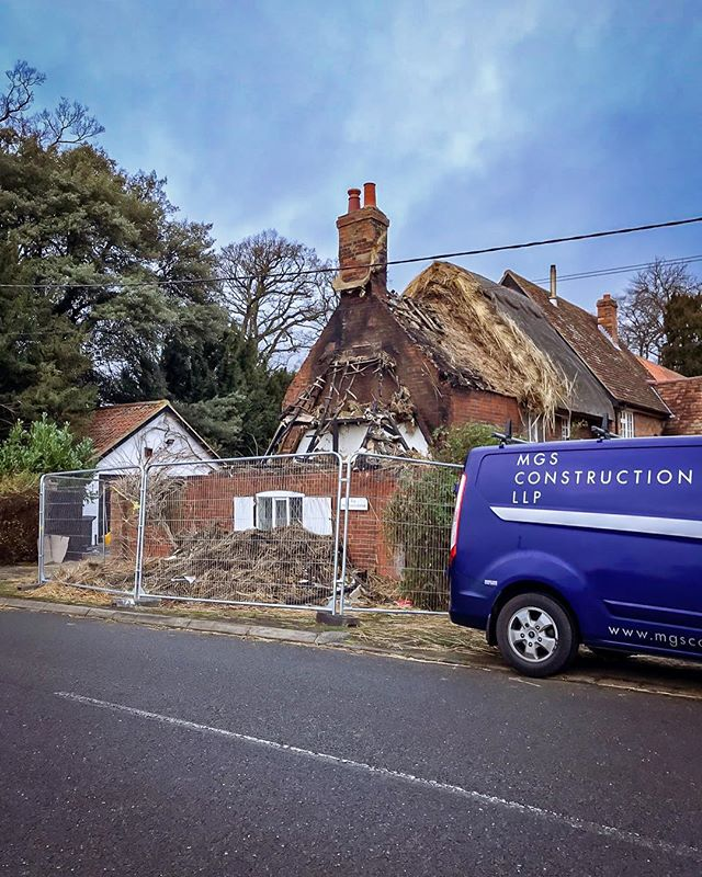 We have just started our initial make safe & remedial works to this Grade II Listed period property following significant fire damage #buildersofig #firedamage #restoration #thatchedroof #fire #builder #listedbuilding #listedproperty
