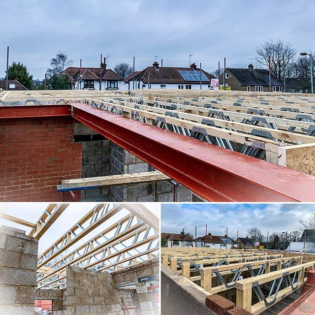 UPDATE: First floor joists are almost done on our new build! #buildersofig #newbuild #home #construction #constructionmanagement #steelbeams #joists #blockwork #newhome #residentialconstruction #builder
