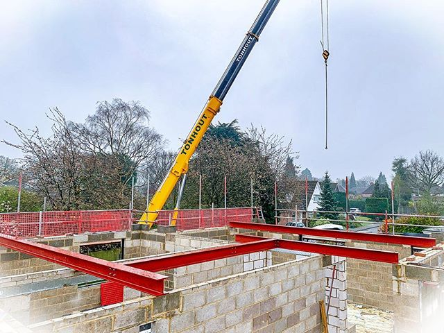 The 2nd Floor construction is now compete on our residential build, ready for main roof steelwork  #construction #builder #newhome #newbuild #crane #steel #blockwork #buildersofig #residentialconstruction #build #joist #brick