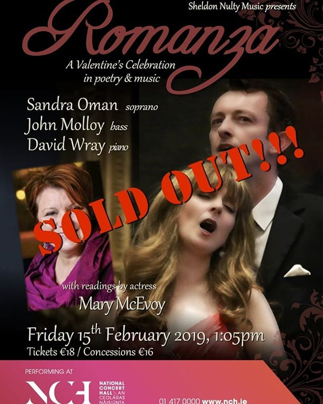 Thrilled to say that our #ROMANZA performance at @nationalconcerthall tomorrow is #soldout  We're gonna have a magical time - Mary McEvoy and bass @molloyjohn76 are just incredible! #longlivelove  #concert #poetry #actress #movies #musicals #friendship #love #valentinesday #valentinesdayconcert #opera #operasingersofinstagram #soprano #bass #sopranolife #theatre #wbyeats #ezrapound #nigellalawson #gershwin #guysanddolls #mackandmabel #SandraOmanSoprano #sandraoman #librtiespeople #libertiesgirl