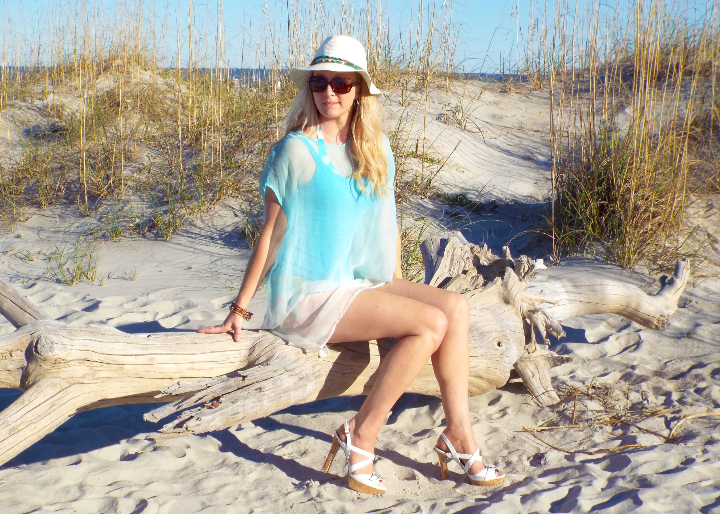 Lisa on the beach in Hilton Head, SC in the one of a kind Lola in Ocean Mist
