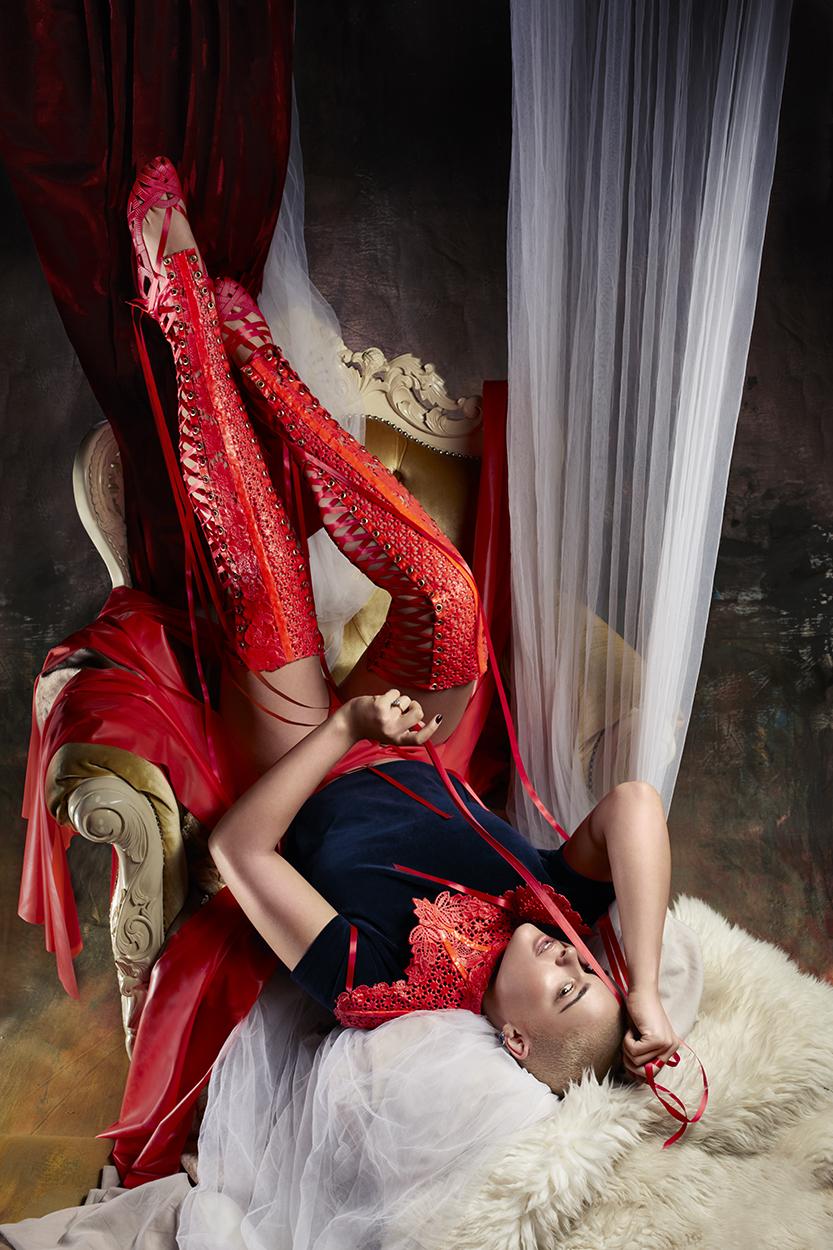 Corset dress: Elissa Poppy; Earrings: Accessorize; Necklace: Stylist's own