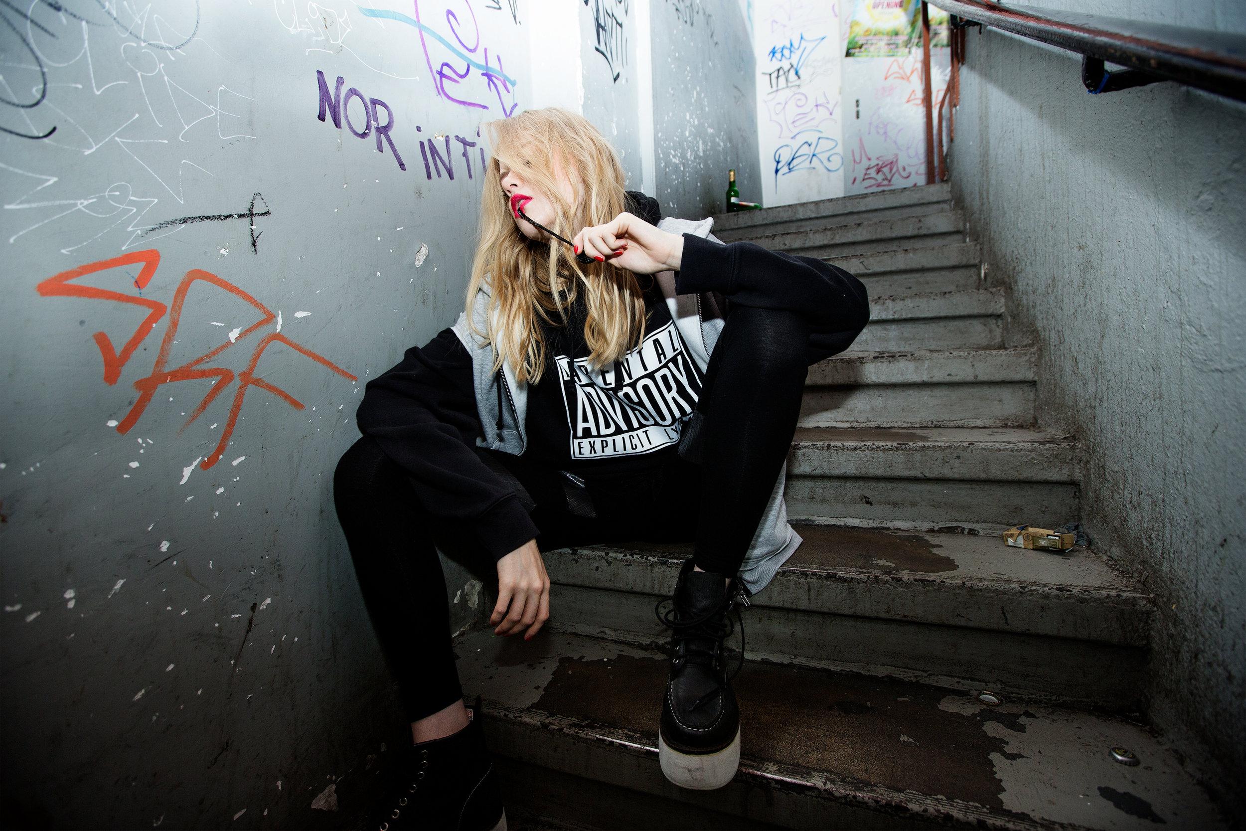 Black hoodie: Russell, Grey hoodie: H&M,Pants: Stylist's own,Shoes: Jeffrey Campbell