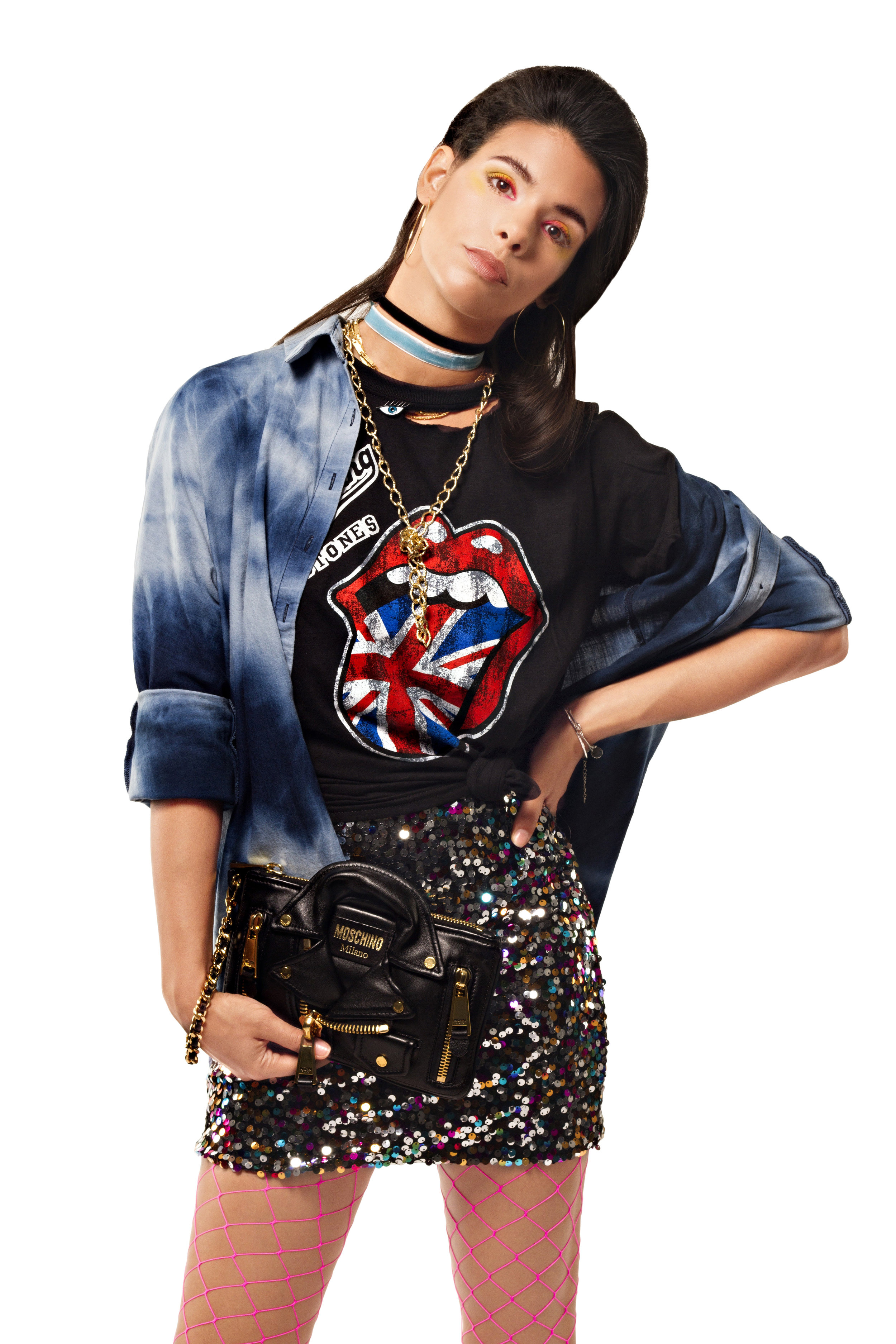 T-shirt  Rolling Stones Official ,Eye Pin  Stradivarius ,Denim Shirt  Zara ,Skirt  H&M ,Clutch  Moschino  at D'Adélia Store,Earrings  Claire's , Tights  Production's own