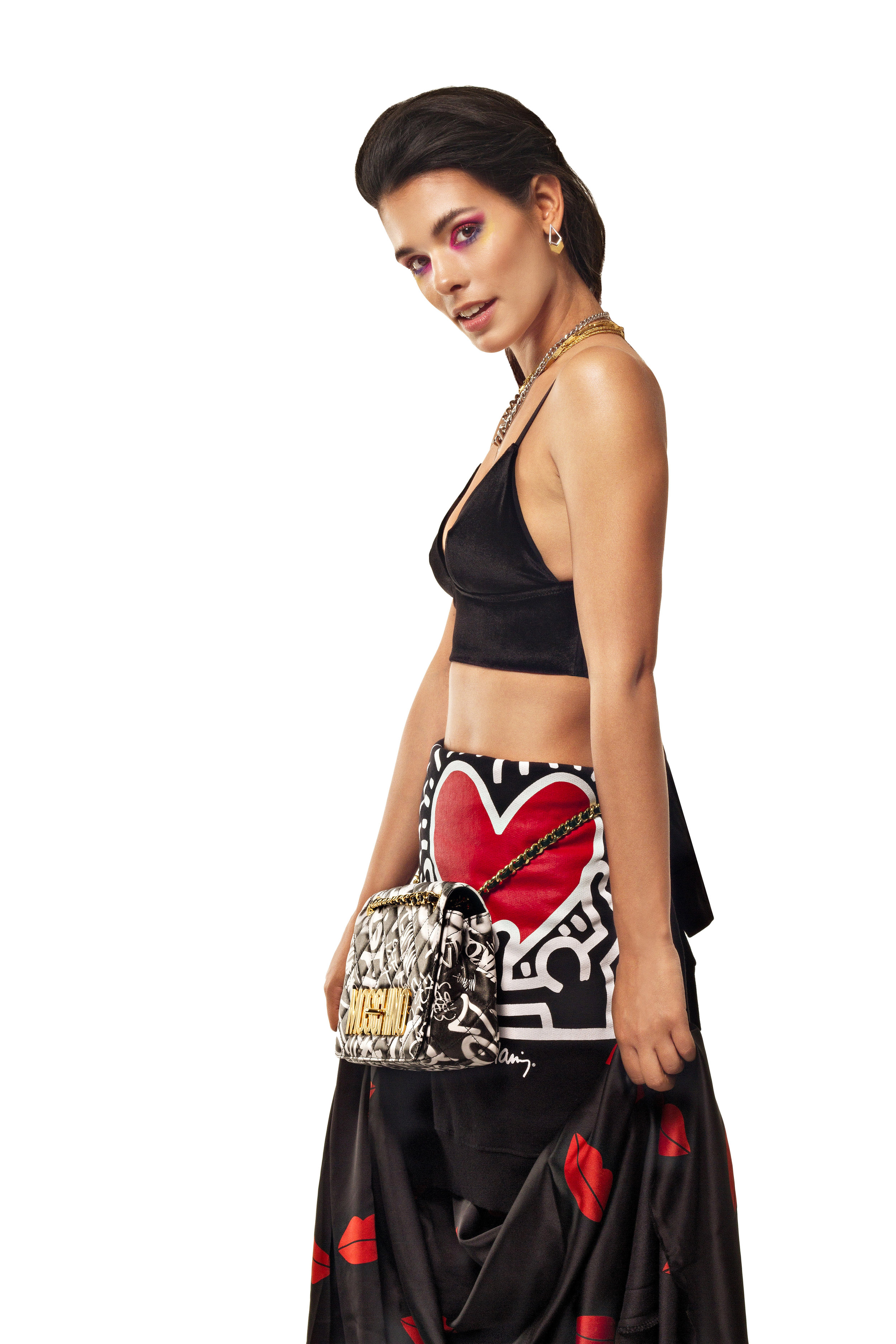 Top  H&M ,Customized skirt  Production's own ,Bag  Moschino at D'Adélia Store,Sweatshirt  Keith Haring  for Pull &Bear ,Gold and Silver earrings  Pessoa e Melo Jewelry, Golden choker  Vintage ,Silver chain necklace  Stone by Stone ,Silver Shout Out necklace  CINCO