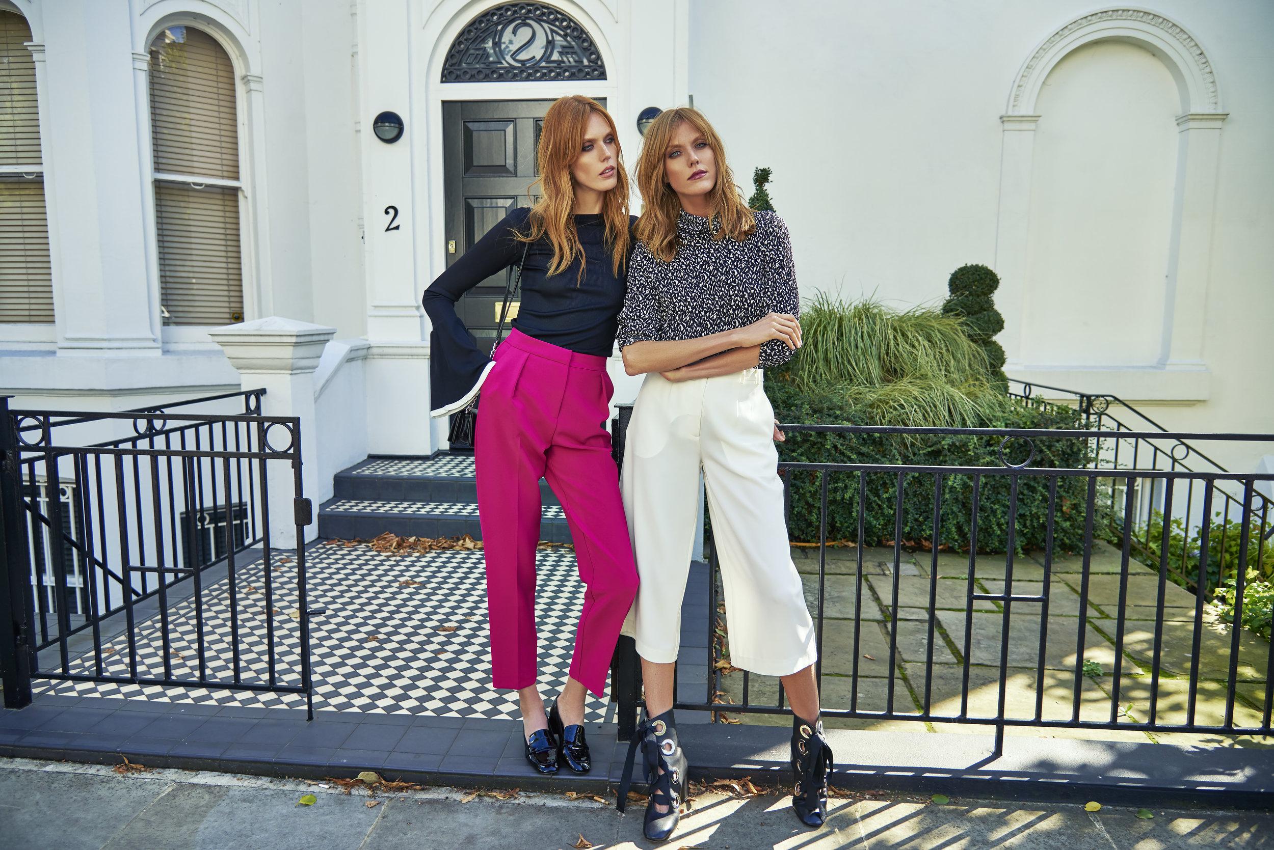 Alice wears:  Top  Topshop ,Trousers Stylists own,Boots  Miista    Caroline wears: Top  Zara ,Trousers  Topshop ,Shoes  River Island