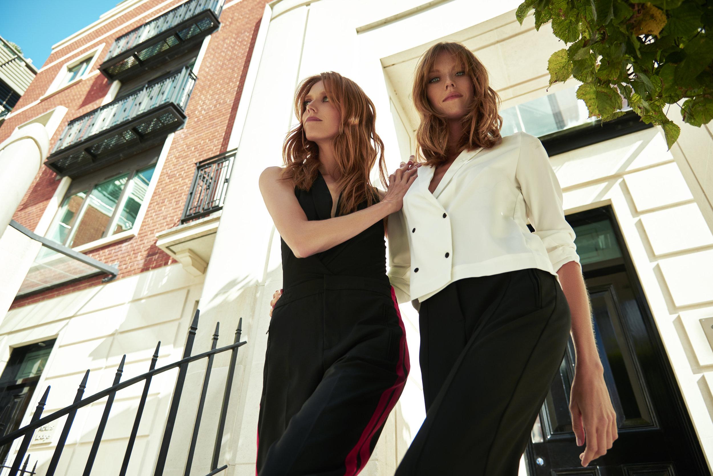 Alice wears: Blazer  Topshop ,Leggings  H&M    Caroline wears: Body  Topshop ,Trousers  Zara