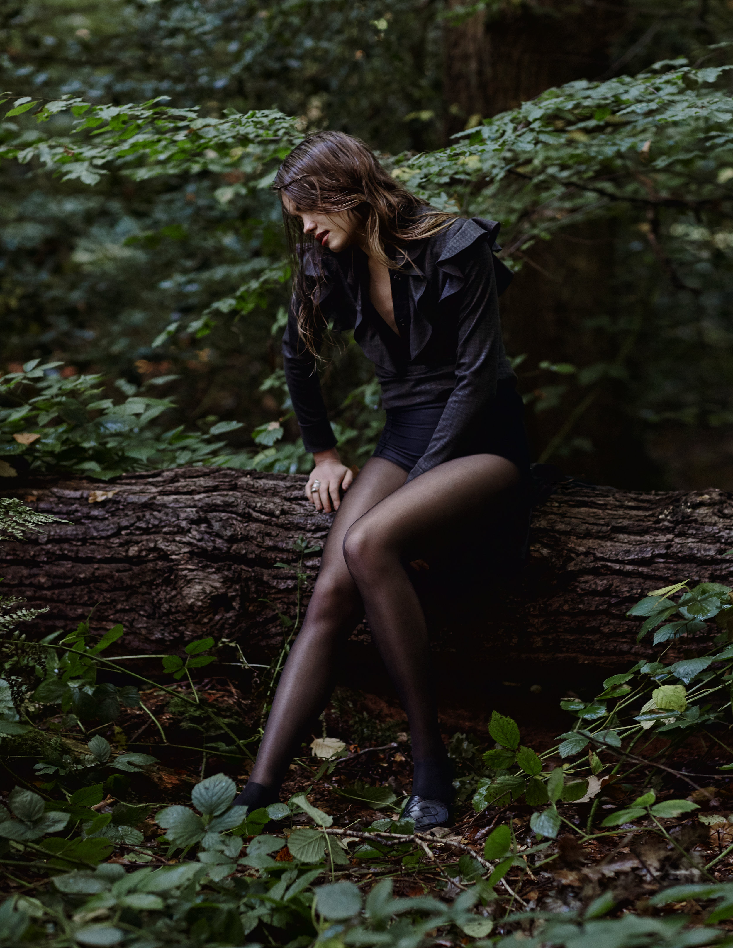 Top: Ashley Isham;Black Briefs: Wolford;Tights: Wolford;Ring: Evra The Art of Eve;Shoes: A.Andreassen