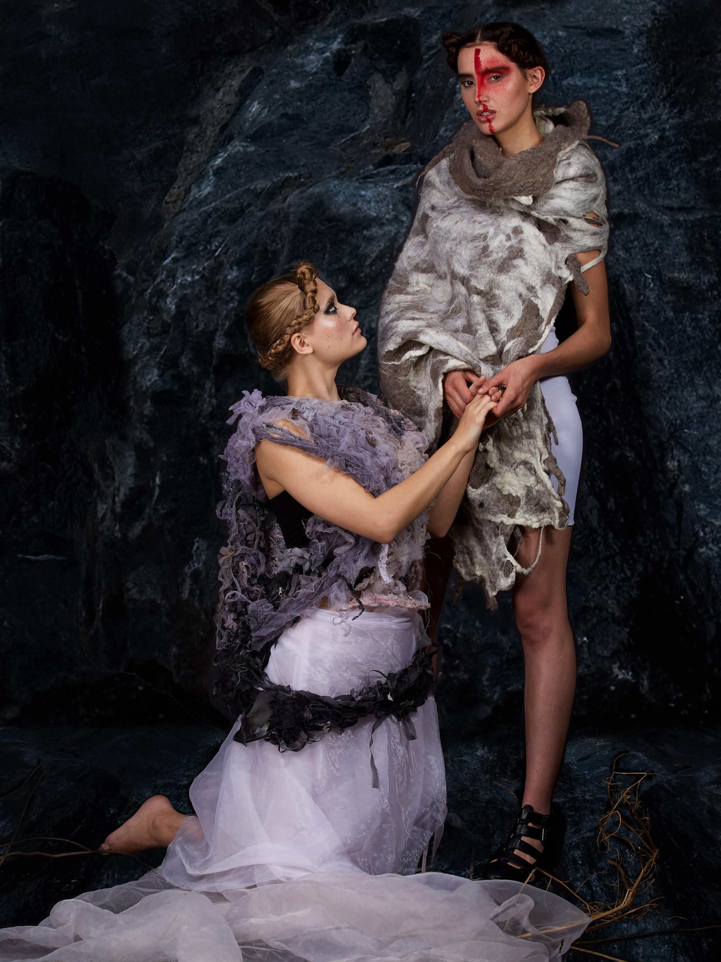 Left: Model wears full look by Joanna Berling; Right: Model wears full look by Clara Pinto
