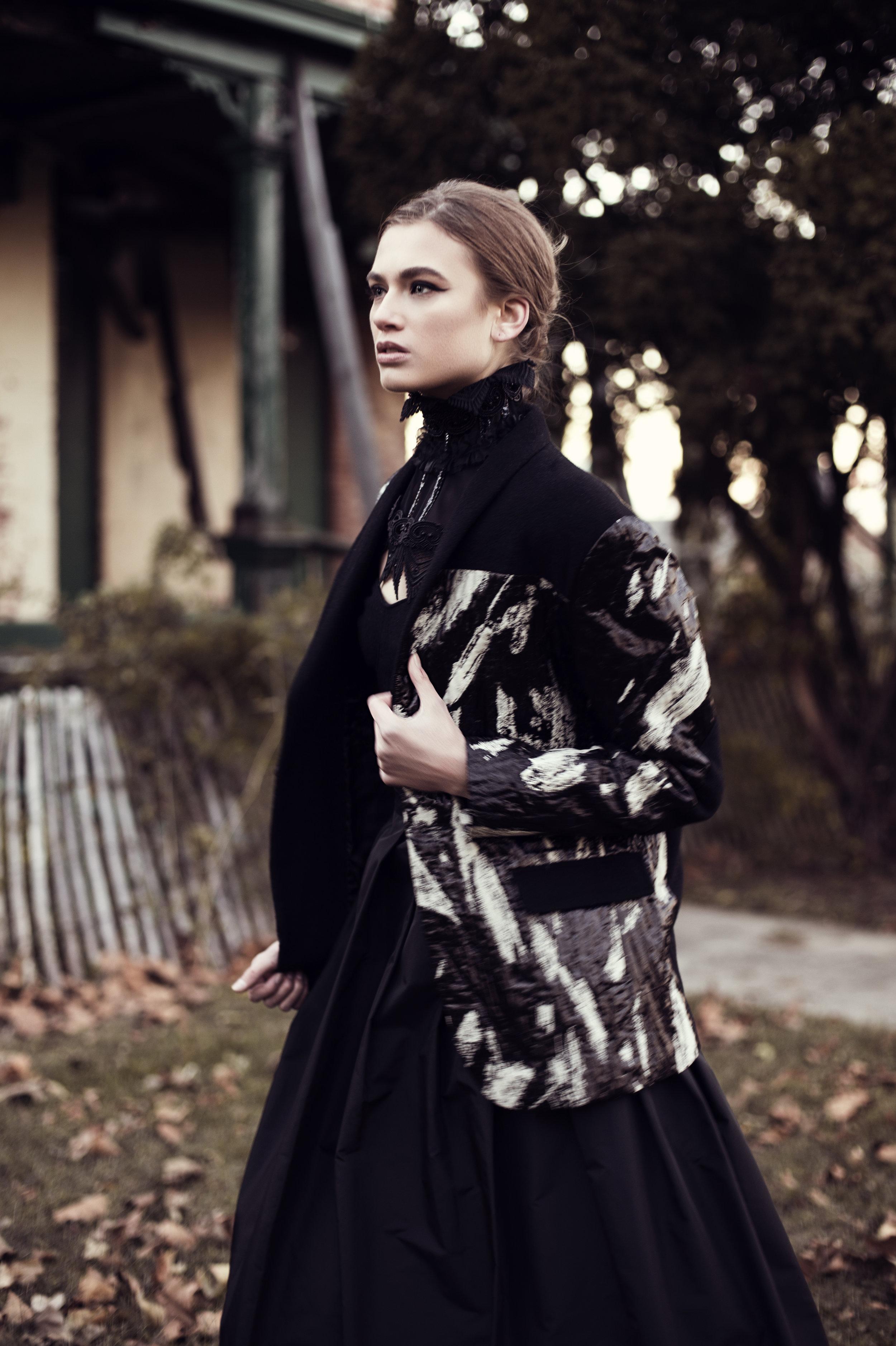 Neck piece: Veritée Hill, Jacket: Vivienne Hu, Top: Club Monaco, Skirt: Yvette Creation Paris