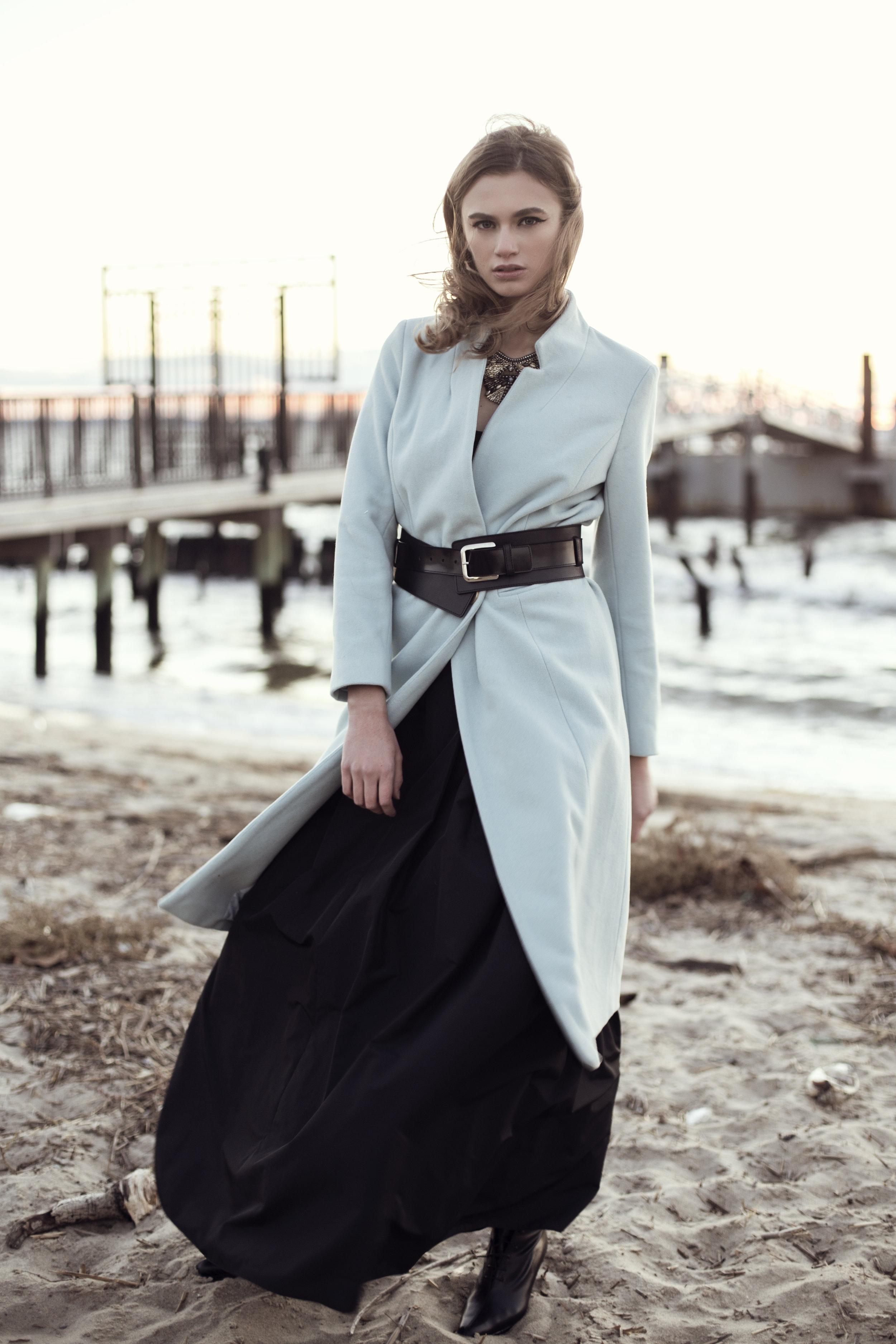 Jacket: A Piece Apart, Belt: Club Monaco, Skirt: Yvette Creation Paris, Shoes: Michel Perry, Necklace: Deepa Gurmani