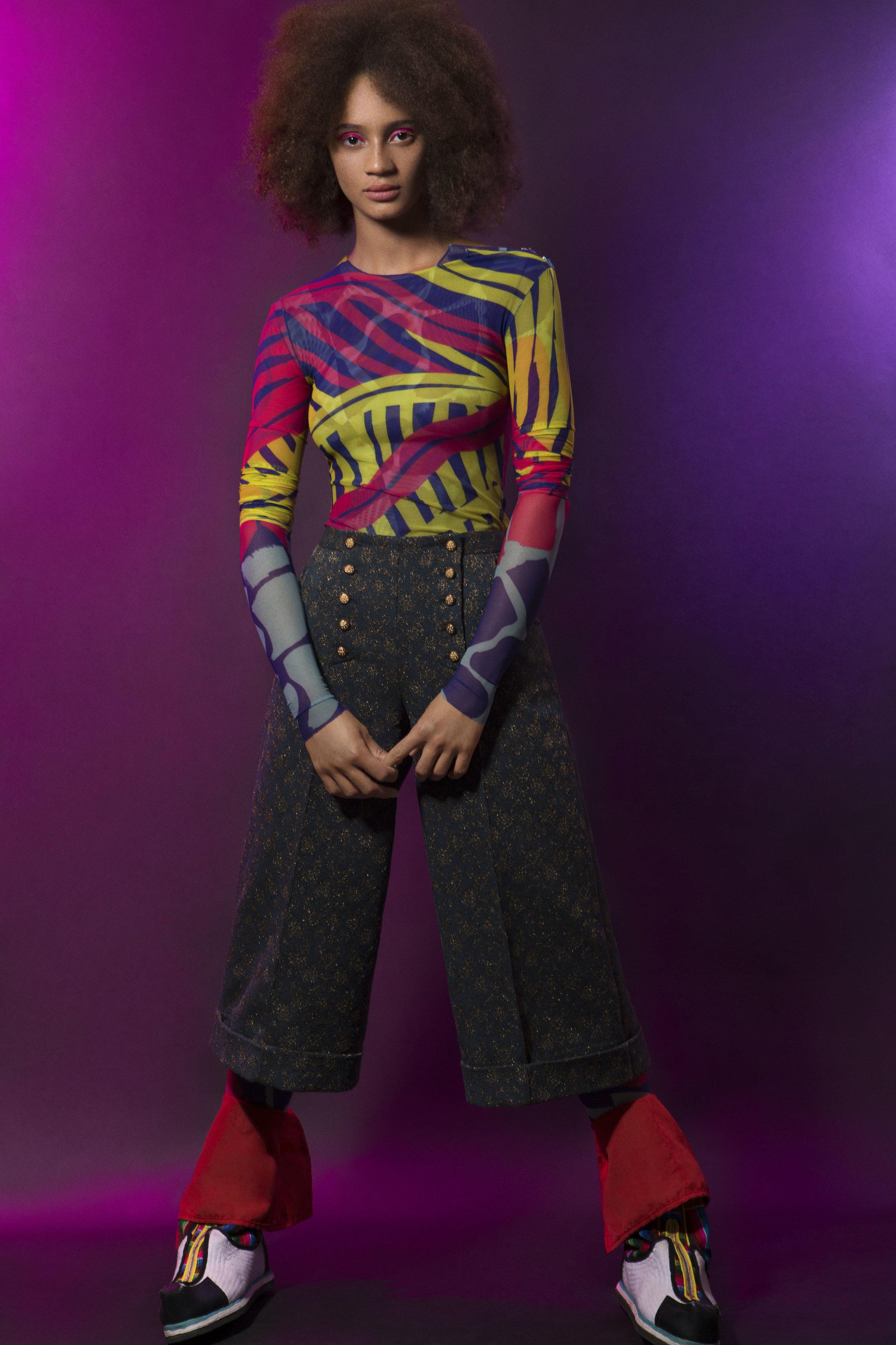 Jumpsuit and Top:KATRINA WILSON, Trousers: JIRI KALFAR, Shoes: AHSLEY ISHAM