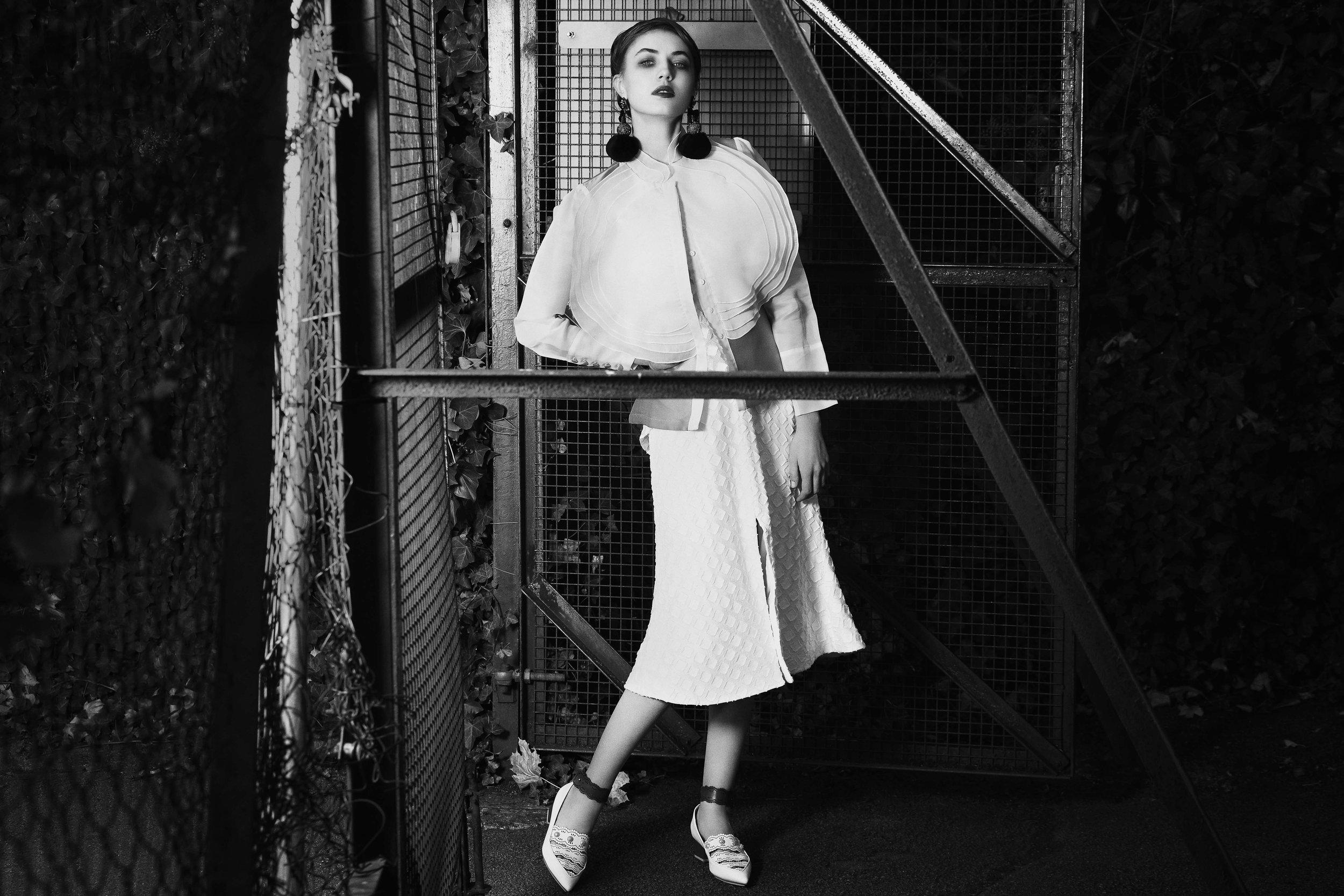Dress : C/MEO COLLECTIVE Shirt : CATRIONA HANLY (Felicities PR)  Earring : RANJANA KHAN Ring : LINNIE MCLARTY Footwear : RUE ST.