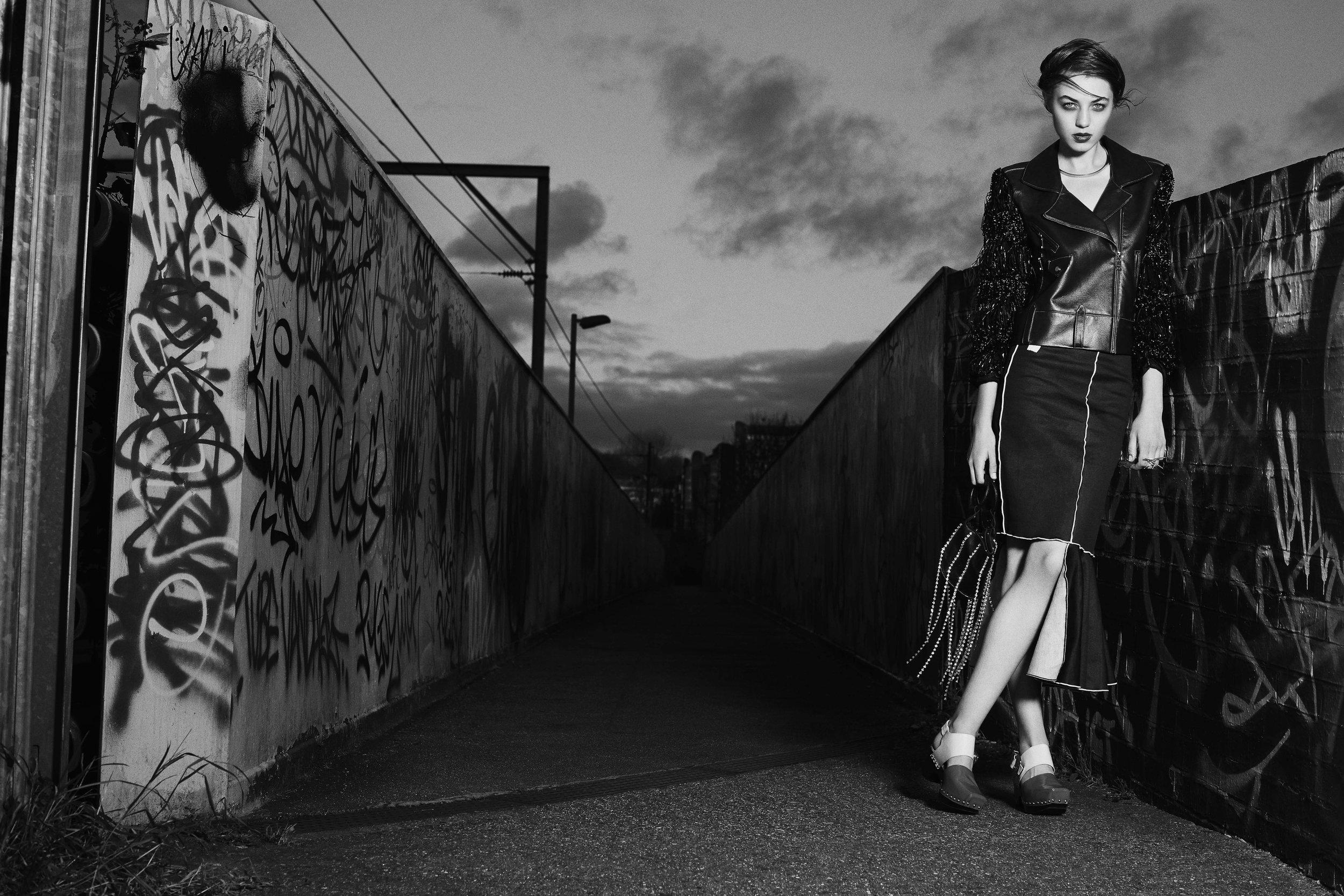 Jacket : BOO PALA Skirt : MINNAN HUI Necklace : PILGRIM  Ring : LINNIE MCLARTY Bag : EMMA CHARLES Footwear : TOGA PULLA